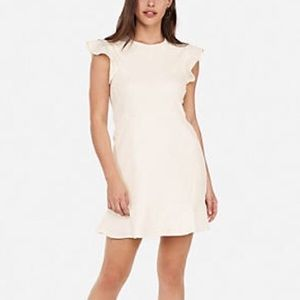Express White Mini Sheath Dress - Flutter Sleeve M
